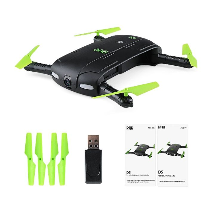 New Arrival DHD D5 Selfie FPV Drone With HD Camera Foldable RC Pocket Drones Phone Control Quadcopter Mini Dron VS JJRC H37 523