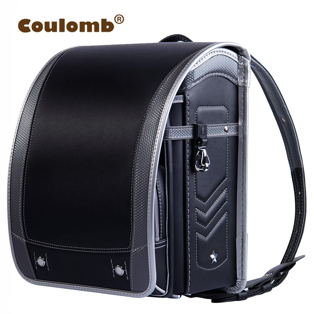 Coulomb Children Orthopedic Backpack For Boy And Girl Five Star PU Leather School Bags For Kids Book Bags Box Type Satchel 2018