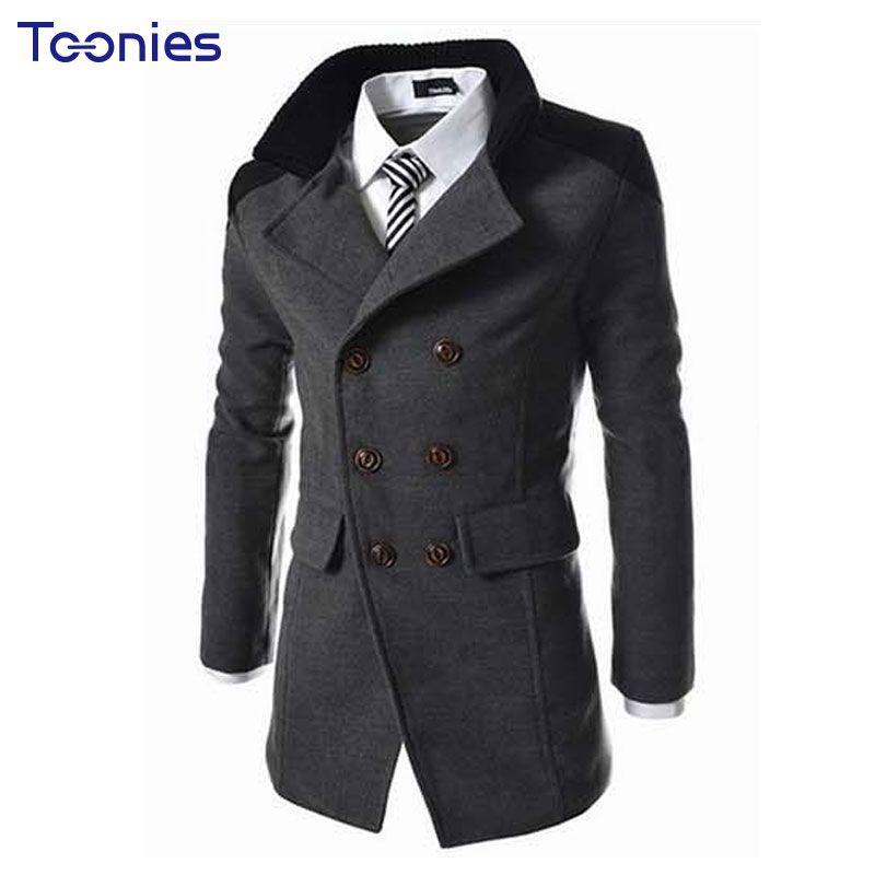 New Autumn Sobretudo Masculinos Preto Cool Mens Coats Overcoats Double Breasted Men Wool Coat Business Casual Trench Coat Men