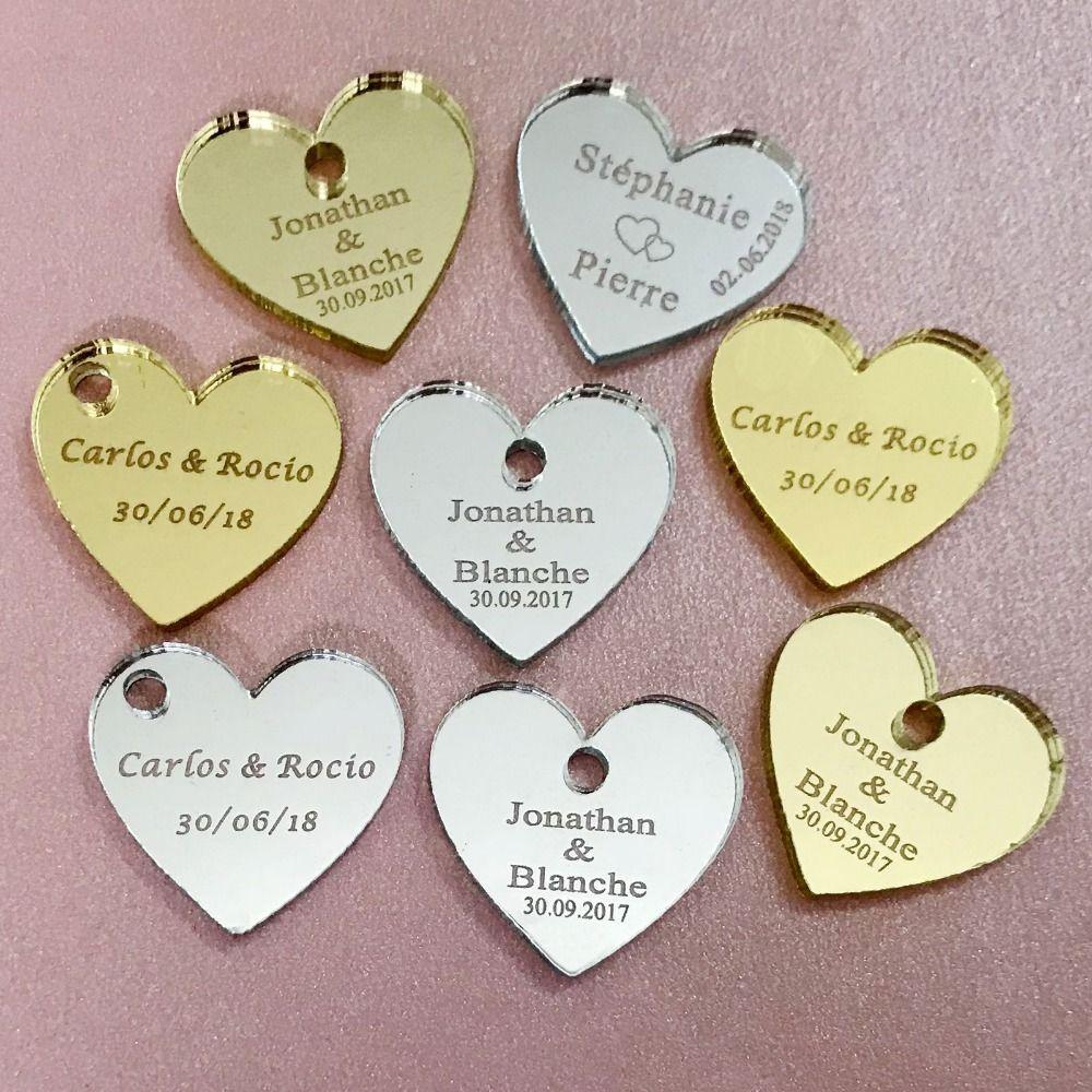 50/100 pièces personnalisé Mr & Mrs miroir amour coeur faveurs de mariage décorations de Table 25mm avec trou au centre