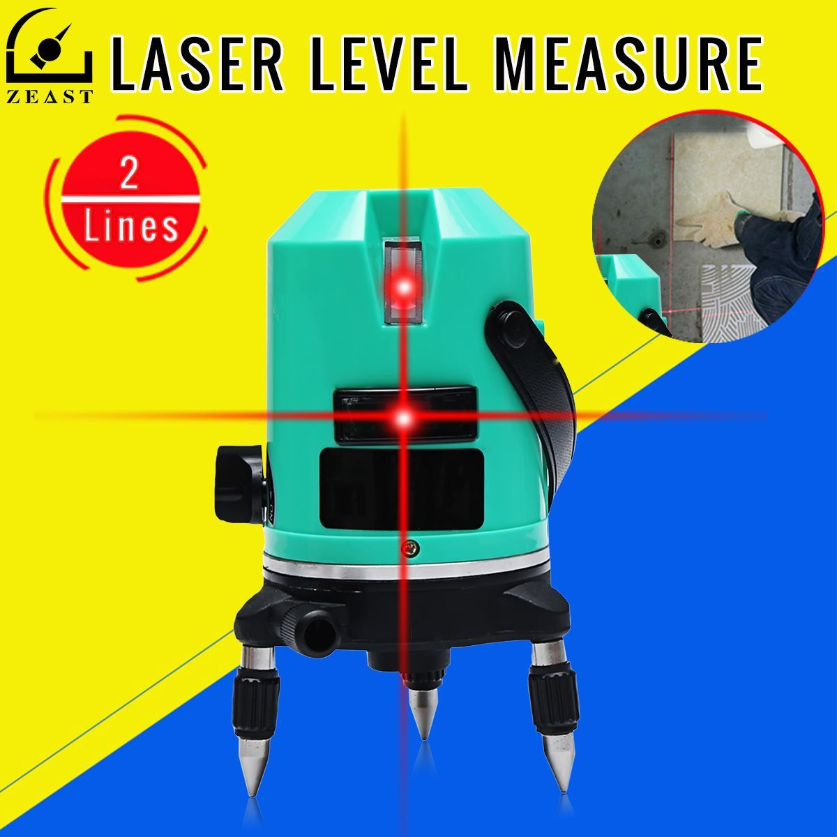 Laser Level Red 2 Line Automatic 360 Degree Self Leveling Cross Line Measure 635nm Laser IP-54 Waterproof