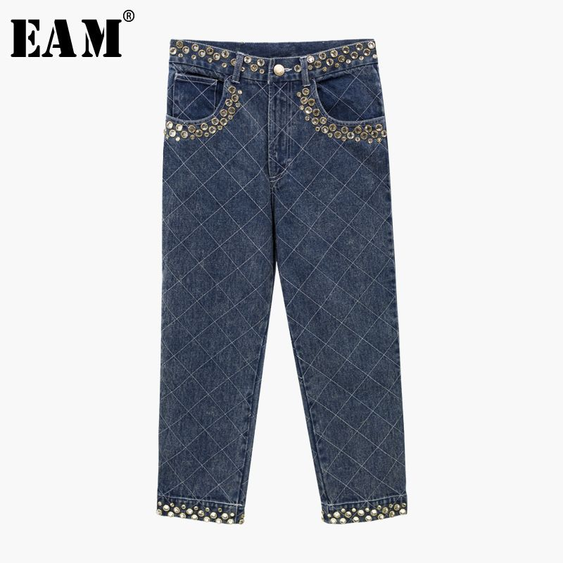 [EAM] 2018 New Summer Autumn Women Fashion Tide Bule Color Straight Style High Waist Zipper Embroidered Flares Pants LA148