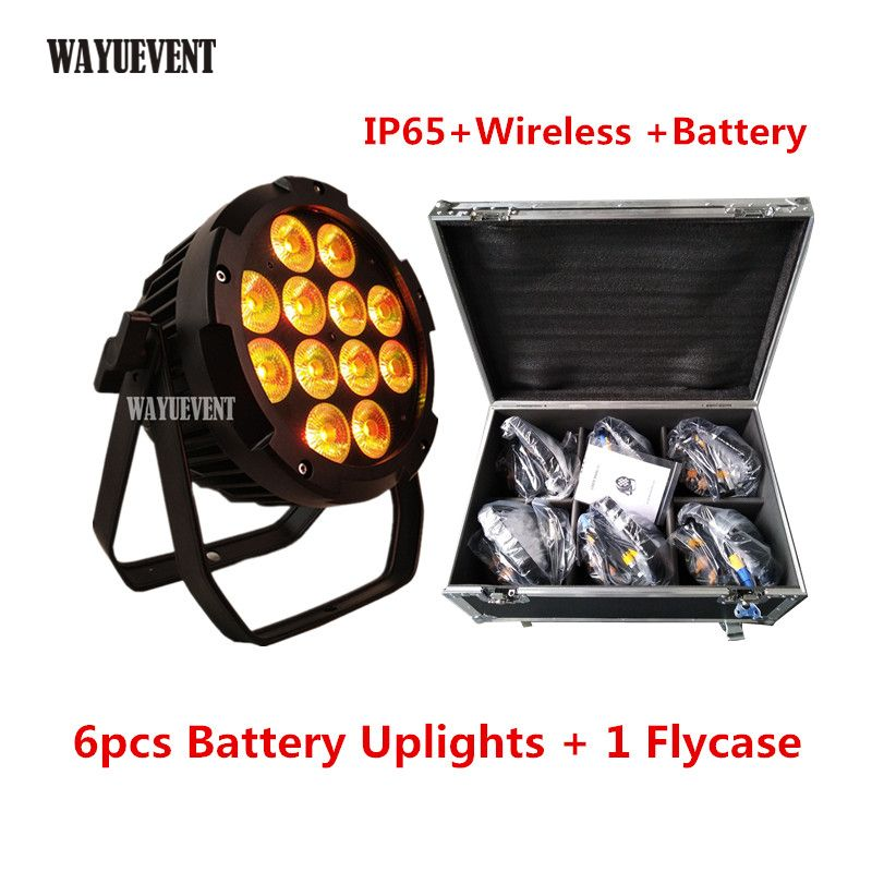 6 teile/los flycase IP65 Batterie Power LED Drahtlose DMX Par Licht 12x18 W RGBWA UV 6IN1 WIFI Steuer par Können Hochzeit DJ Uplight