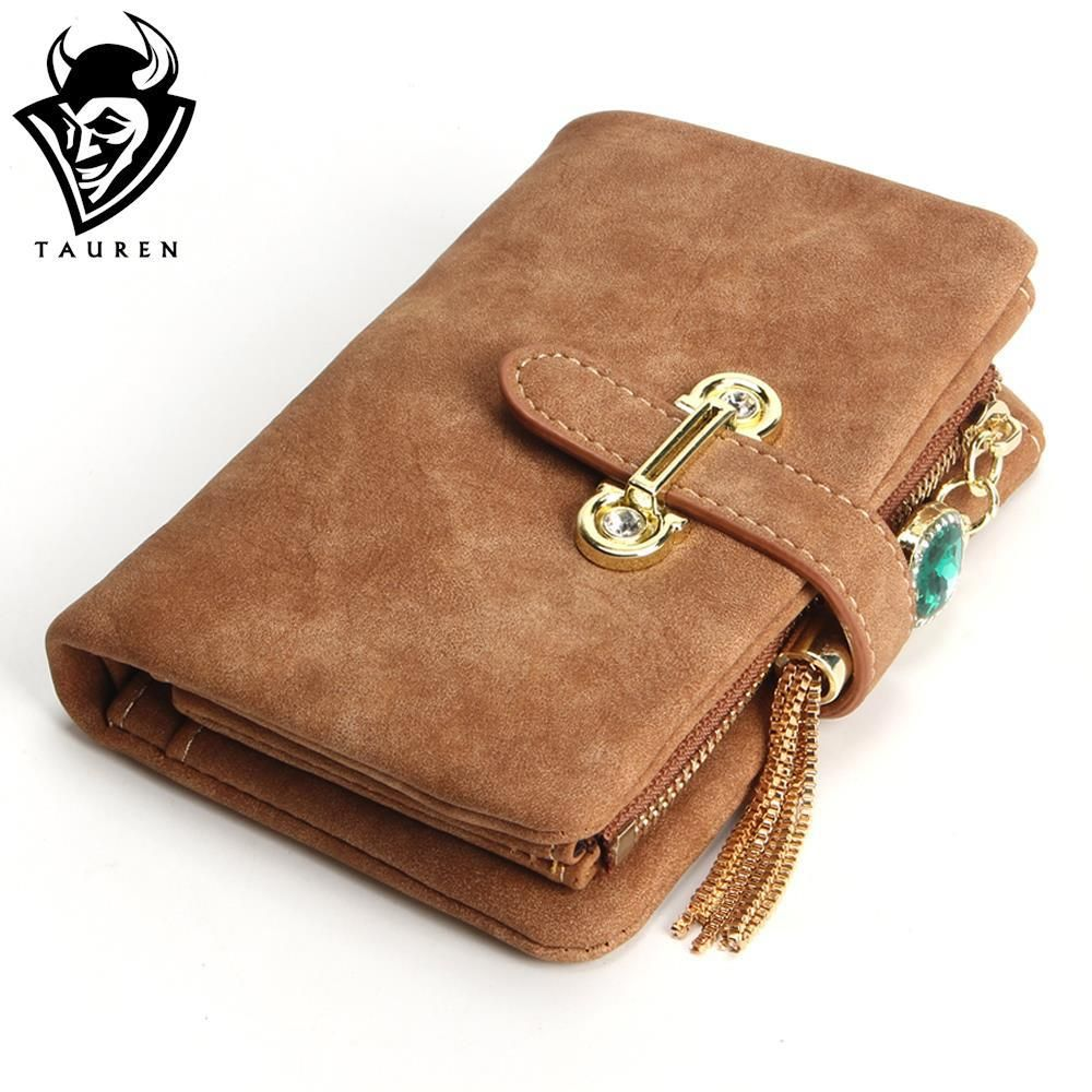 Hot!! 2018 New Fashion Women Wallets Drawstring Nubuck Leather Zipper Wallet Women's Short Design Purse Retro Tassels Clutch