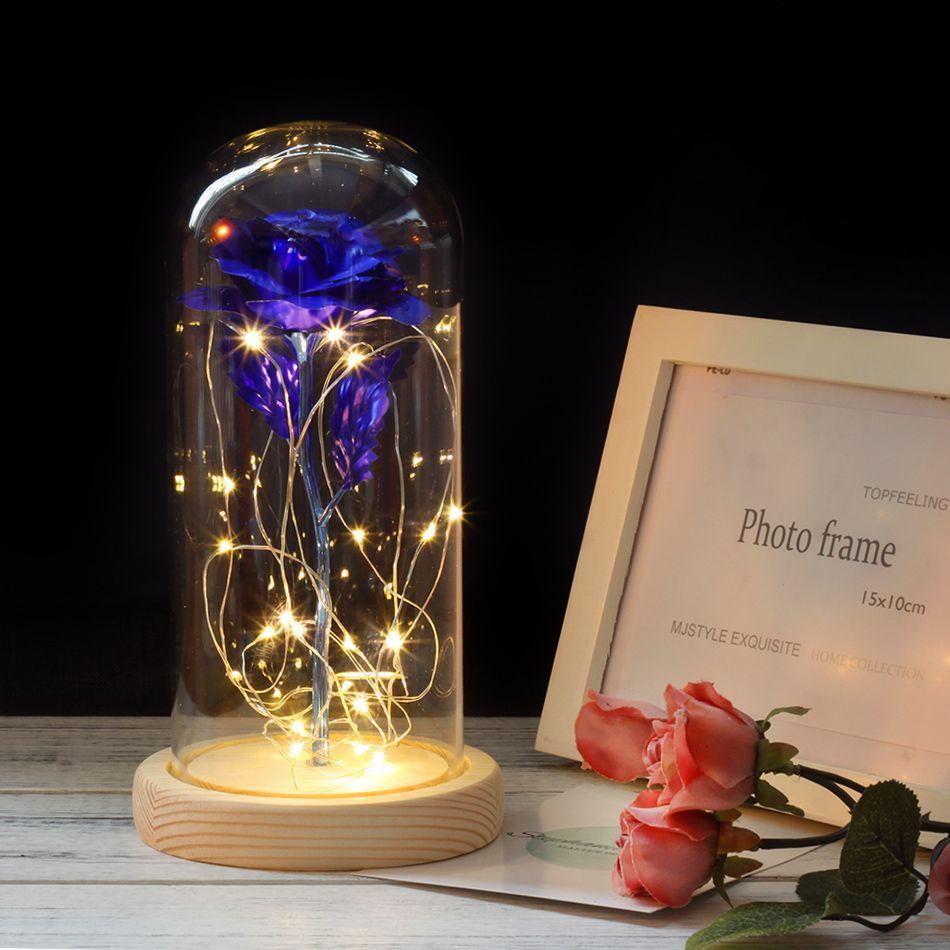 La belle et la bête fleurs artificielles Rose avec dôme en verre pour la fête de mariage saint valentin cadeau de noël