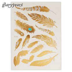 1 unid Flash metálico impermeable tatuaje oro plata moda mujer Henna YS-51 Pavo Real pluma diseño temporal tatuaje Stick Paster