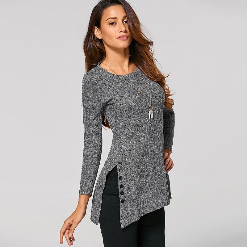 New Arrival Sweater For Women Winter O-Neck Long Sleeve Side <font><b>Button</b></font> Irregular Hem Solid Long Sweaters WS469C