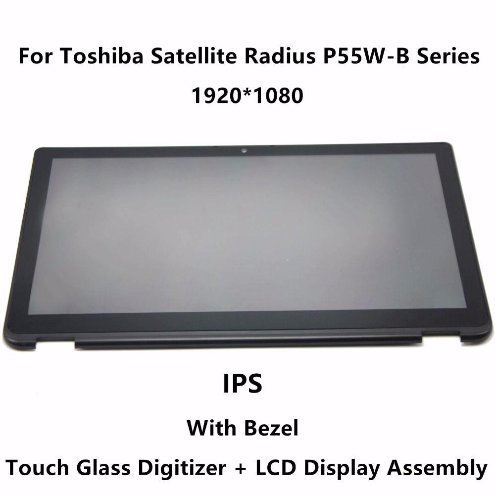 Pour Toshiba Satellite Rayon P55W-B Série P55W-B5318 P55W-B5162 LCD Full Screen Display Tactile En Verre Digitizer Assemblée + Lunette