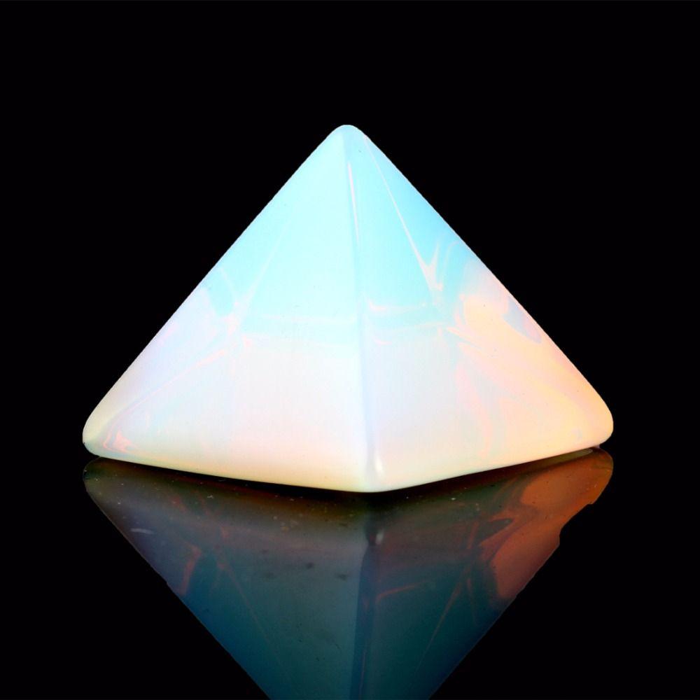 Naturel Pierre Sculpté Opalite Opale Pyramide Symbole Rose quartzs Point Chakra Guérison Reiki Cristal poche Gratuit