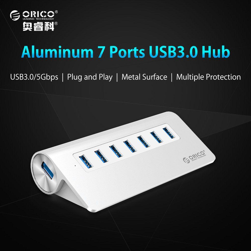 ORICO USB3.0 Hub Aluminium 7 Port Super Speed Hub avec 12 V/2.5A Puissance Adaptateur 3.3Ft. USB3.0 Câble Cordon pour Ordinateur Portable PC Ordinateur