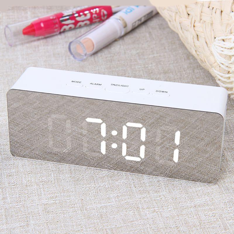 JULY'S SONG Digital Mirror LED réveil veilleuses thermomètre horloge murale lampe carrée Rectangle multi-fonction horloges de bureau