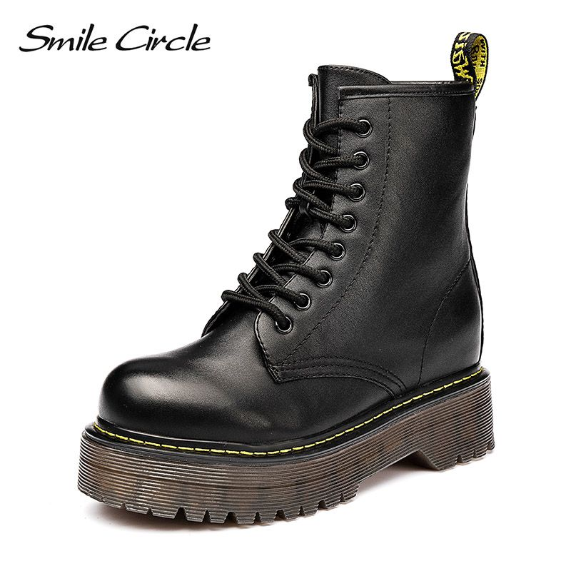 Smile Circle Size36-41 Chunky Motorcycle Boots For Women Autumn 2018 Fashion Round Toe Lace-up Combat Martin Boots Ladies Shoes