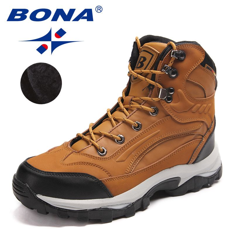 BONA New Arrival Classics Style Men Hiking Shoes Action Leather Men Athletic Shoes Outdoor Jogging Sneakers Fast Free Shipping