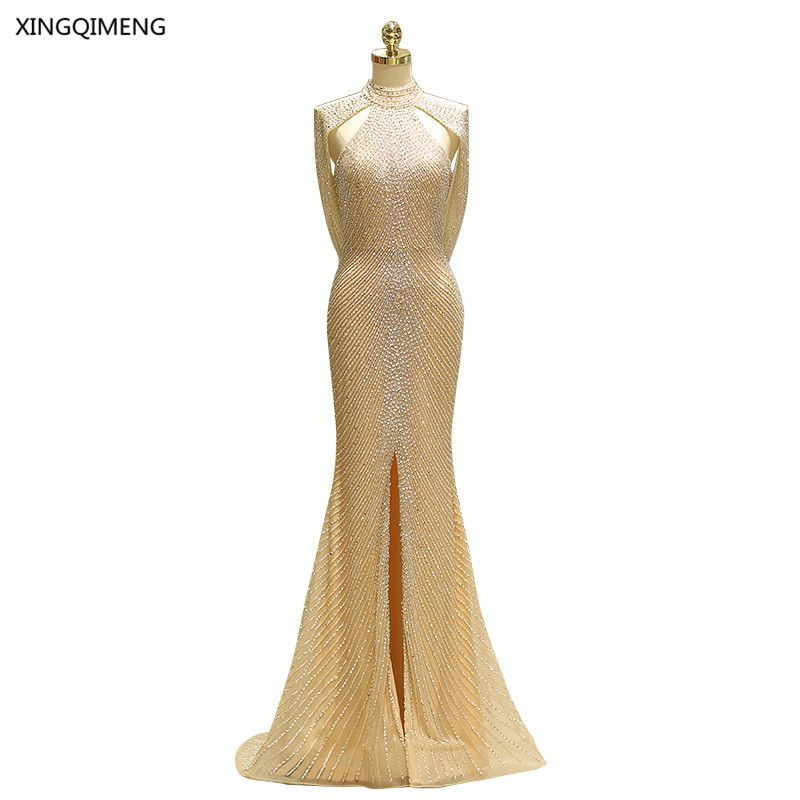 Gorgeous Sexy Mermaid Evening Dress Long Elegant High Quality Sequined Beaded Formal Dress Chic Backless Women Gown Real Photos
