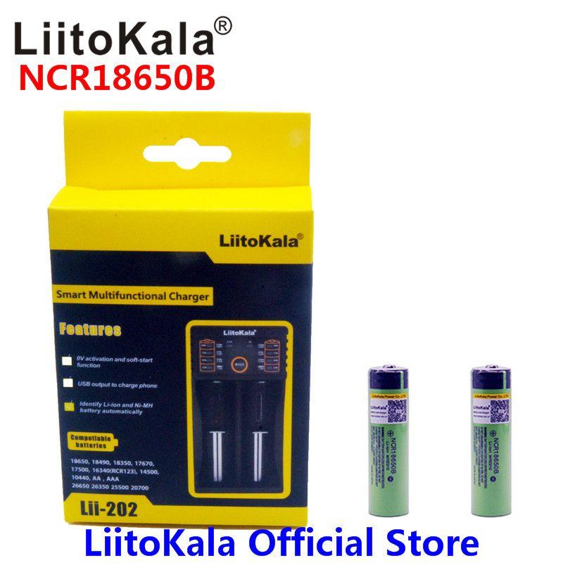 2pcs Liitokala 3.7V 3400mAh 18650 Li-ion Rechargeable Battery (NO PCB) + Lii-202 USB <font><b>26650</b></font> 18650 AAA AA Smart Charger