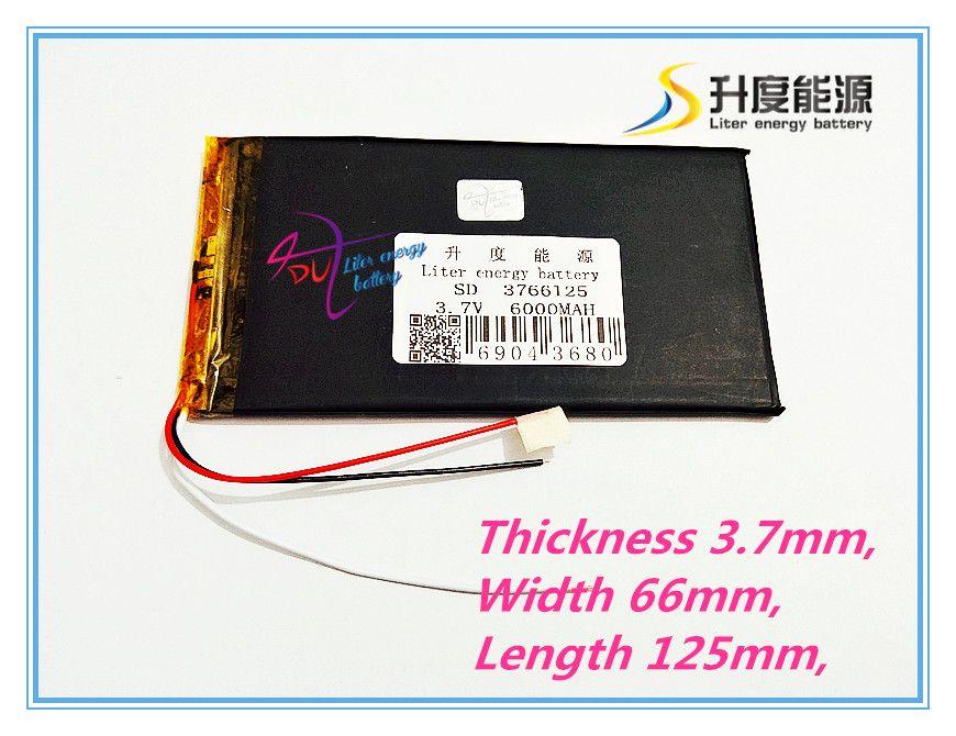 3 line 3766125 3.7V 6000mAh Polymer lithium ion / Li-ion battery for tablet pc  V811V801 Colorful E708 Q1
