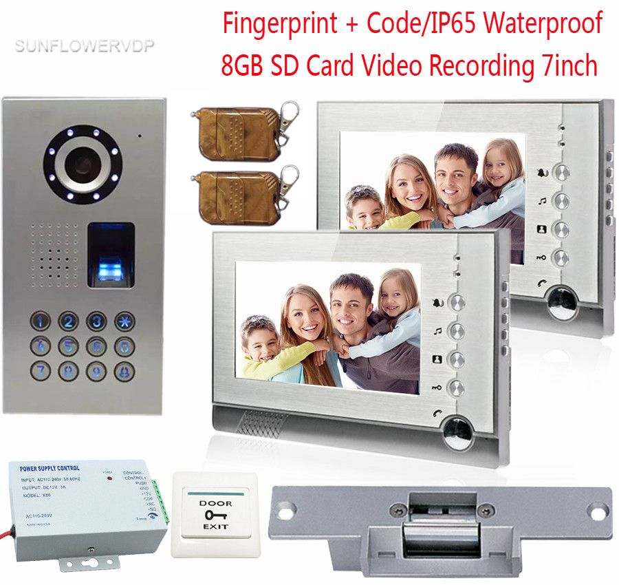 Fingerprint Video Door Phone 2 Monitors 8GB SD Card Recording Video Intercoms IP65 Waterproof Code With Electronic lock 7inch