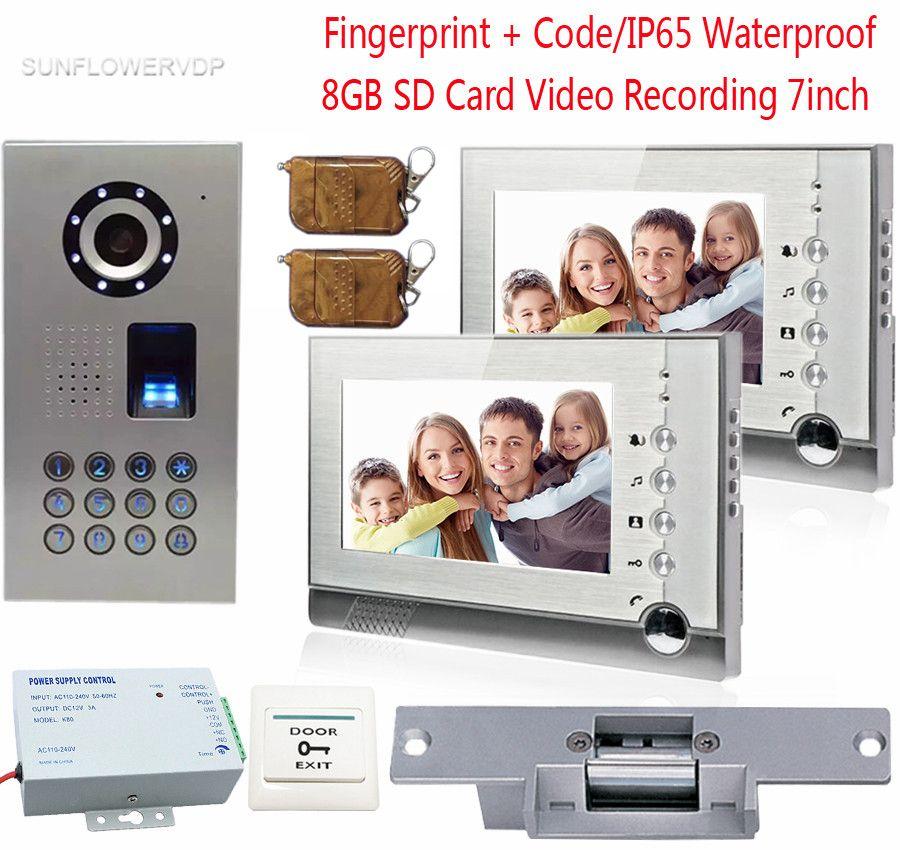 Fingerprint Video Door Phone 2 Monitors 8GB SD Card Recording Video Intercoms IP65 Waterproof Code With Electronic lock 7inch