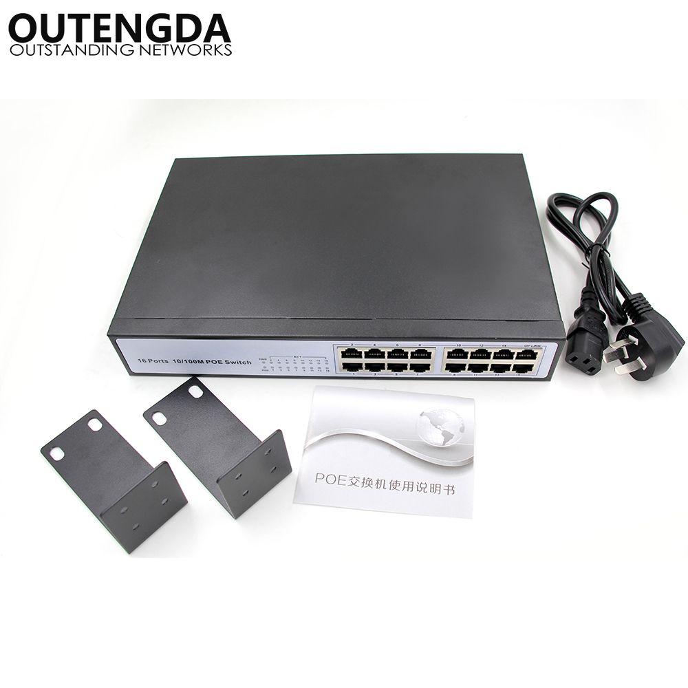 16 RJ45 10/100 M commutateur POE 16 ports alimentation en Rack non gérée sur commutateur Ethernet alimentation intégrée commutateur réseau CCTV 150 W