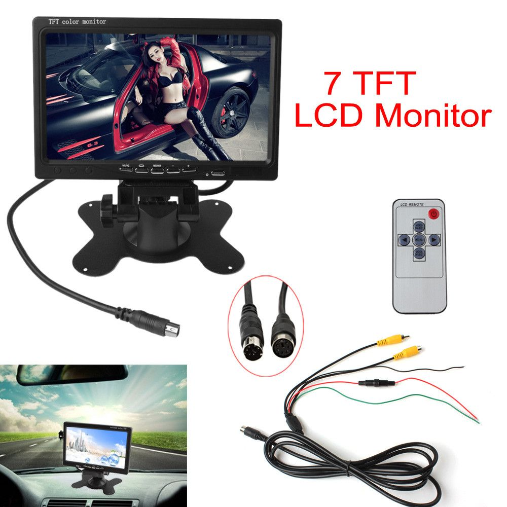 7 Inch Color TFT LCD12V Car Monitor Rear View Headrest monitor With2 Channels Video Input For DVD VCD Reversing Rear view Camera
