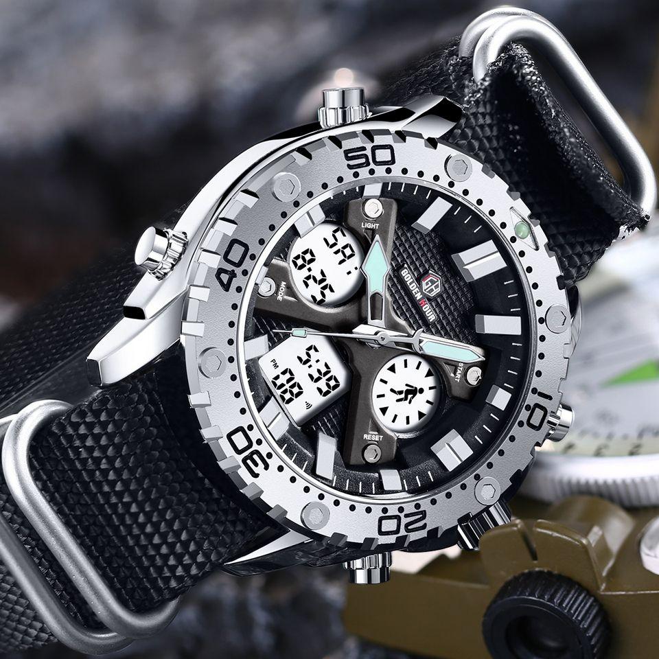GOLDENHOUR Mode Outdoor-Sport Männer Uhr Armee Militär Leinwand Analog Digital Armbanduhr Dual Display Silber Fall Männlichen Uhr