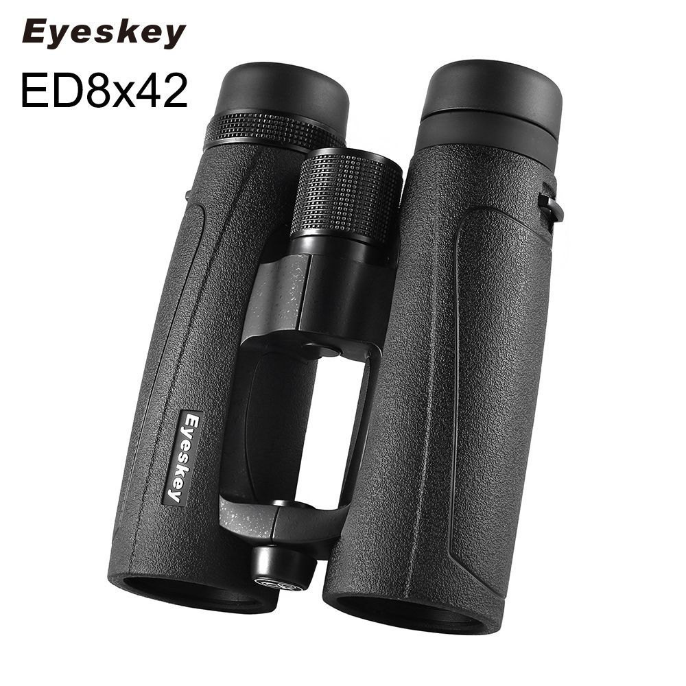 ED Glass 8X42 Eyeskey Black Waterproof Binoculars Bak4 Prism Optics Camping Hunting Powerful Binocular