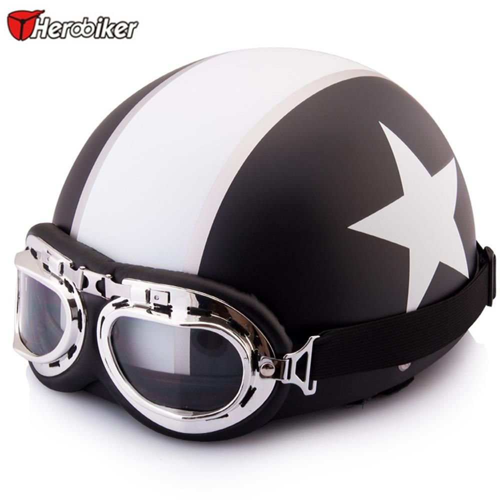 2017 New Motorcycle Helmet Novelty Helmet With Goggles Unisex New Summer Vintage Black Motorcycle Helmets