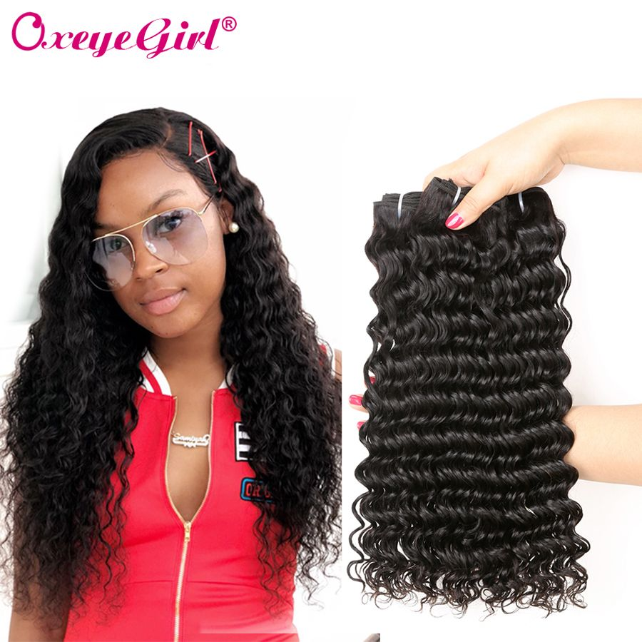 Deep <font><b>Wave</b></font> Bundles Brazilian Hair Weave Bundles Can Buy1/4 Pcs Nonremy Deep Curly Hair Extensions Oxeye girl Human Hair Bundles