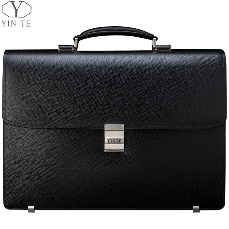 YINTE Men's Black Briefcases Classic Leather Big Business Bag Zipper Working Office Bags Thick And Wide Totes Portfolio T8556-5