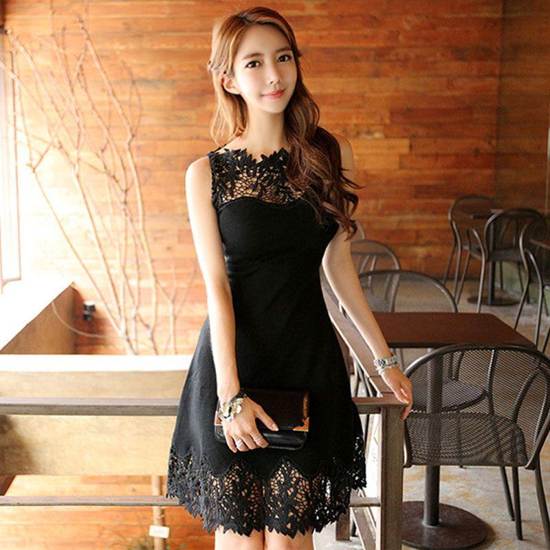 Mode Slim Sexy noir creux dentelle Patchwork femmes robe sans manches courte robes de soirée robes