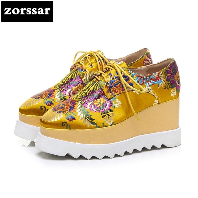 {Zorssar} 2018 NEW Fashion embroidery womens Platform shoes casual Lace-up Round toe Wedges High heels women Creepers shoes