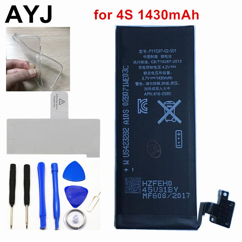 AYJ 100% New AAAAA 1430mAh Battery for iPhone 4 S 4S Real Capacity <font><b>Zero</b></font> Cycle Free Repair Tools Kit Battery Tape