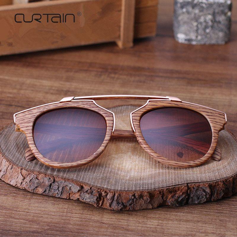 2019 lunettes De soleil dames Vintage Texture bois lunettes De soleil De haute qualité dame pour hommes femmes miroir lunettes Oculos De Sol Masculino