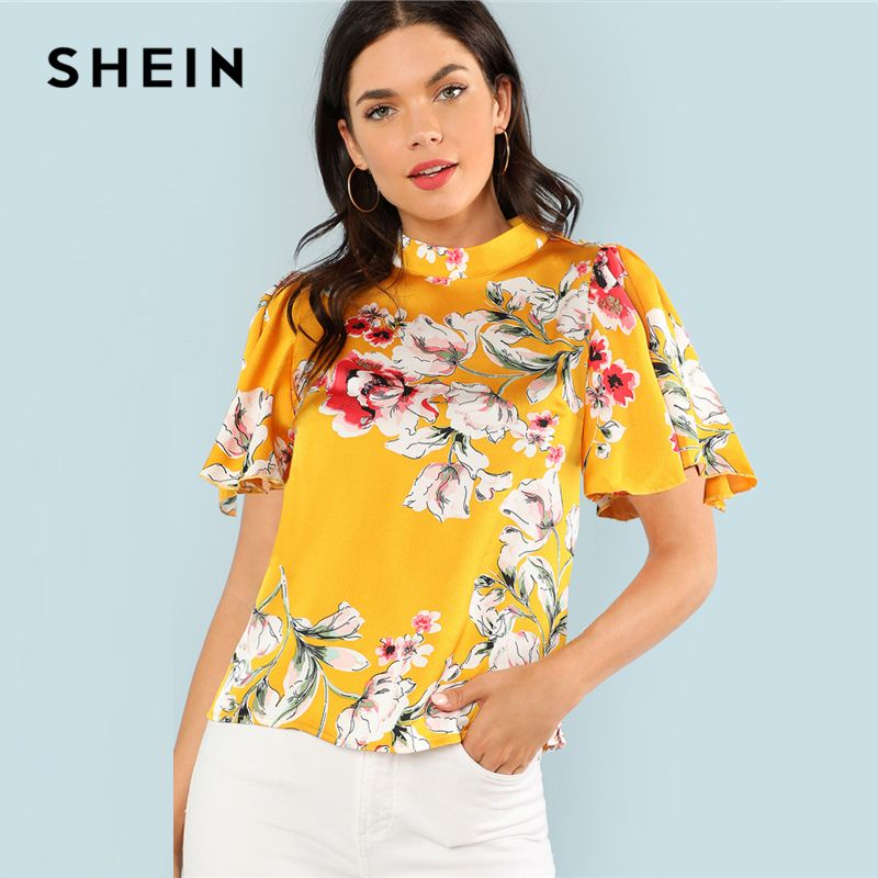SHEIN Mock Neck Keyhole Back Floral Top 2018 Summer Stand Collar Short Sleeve Flower Print Blouse Women Multicolor Casual Blouse