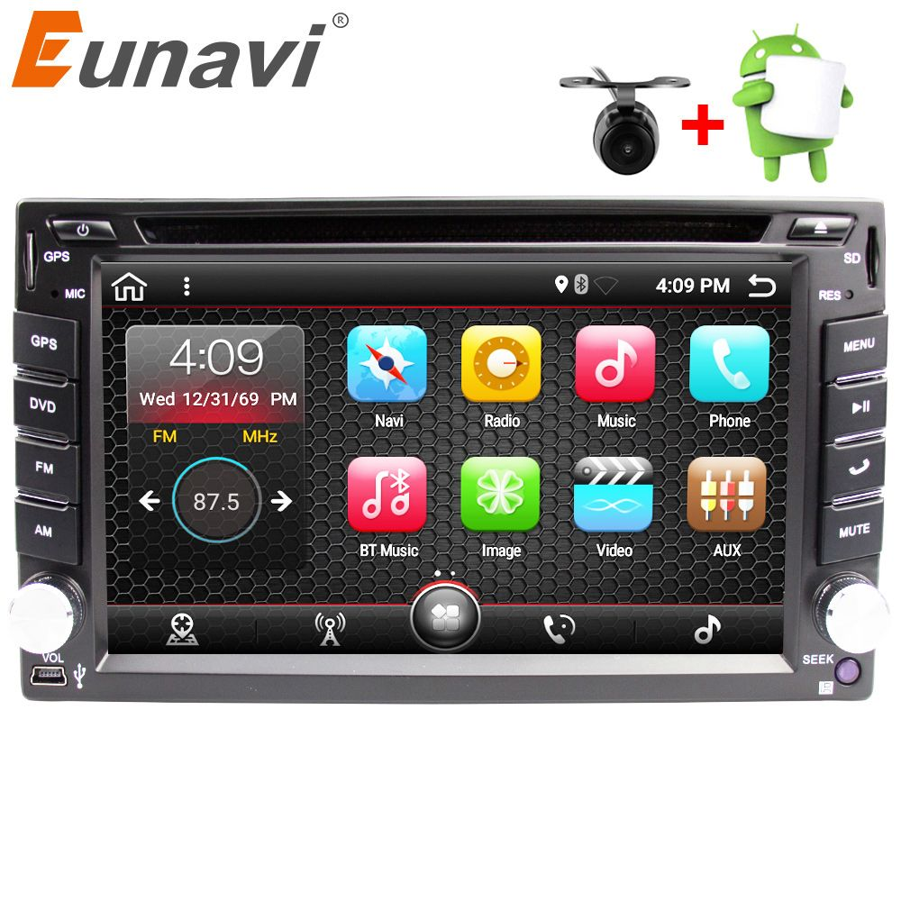 Eunavi Universal 2 Din Android 7.1 Car Dvd Player GPS+wifi+bluetooth+radio+<font><b>quad</b></font> Core+ddr3+Capacitive Touch Screen+car Pc+stereo