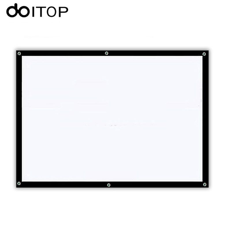 DOITOP 60 inch 16:9 Portable White Projector Screen High-definition Screen Projection Curtain Home Office Projection Screen A3