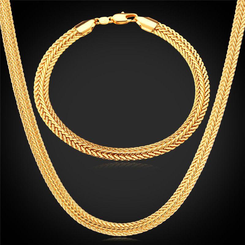 Longue Sétaire Chaîne Bracelet Collier Set 6mm Gros Jaune Or/Noir/Rose Couleur Or Chaîne Pour Hommes bijoux NH435