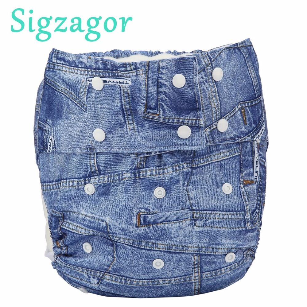 [Sigzagor]1 Adult Cloth Diaper Nappy Urinary Incontinence Waterproof Pocket Microfleece Reusable Double Leg Gussets 11 Designs