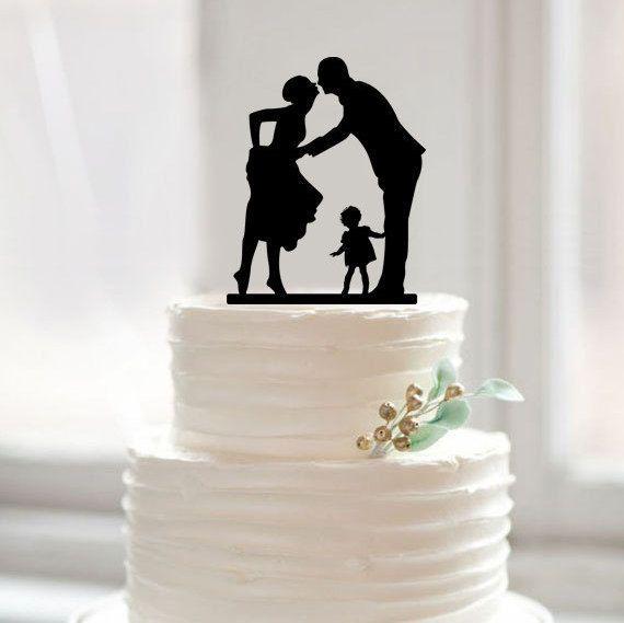 Gâteau de mariage Topper Silhouette Gâteau Topper avec Enfants Rustique Mariée et Marié Toppers avec Garçon Moderne De Mariage Partie Décoration