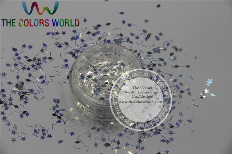 BSD32-111  Mix White with blue light  Iridescent Colors and Shapes Glitter for nail art  and DIY decoration 1Pack =50g