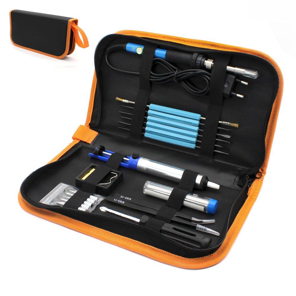 Eu Plug <font><b>220v</b></font> 60w Adjustable Temperature Electric Soldering Iron Kit+5pcs Tips Portable Welding Repair Tool Tweezers Solder Wire
