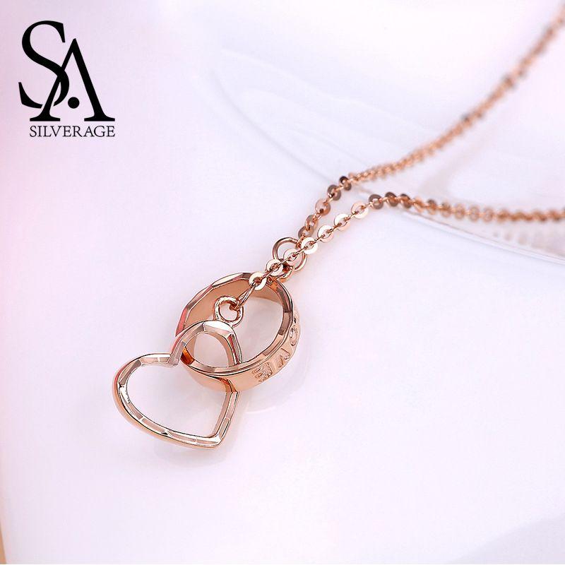 SA SILVERAGE 18 K Rose Gold Herz Anhänger Halsketten Frau Anhänger Kette O Liebe Schnalle Brief Liebe Halsketten Reales Gold schmuck