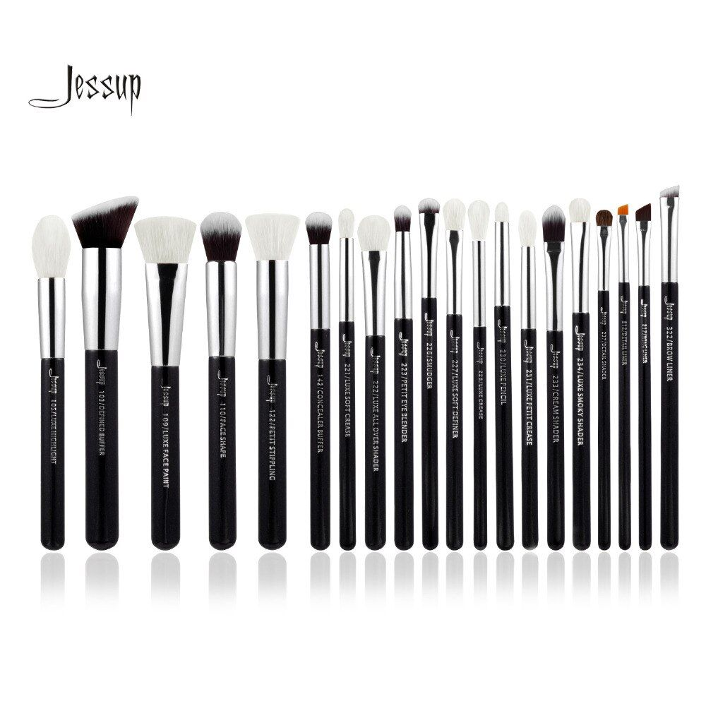 Jessup Black/Silver Professional Makeup Brushes Set Make up Brush Tools kit Foundation Powder Brushes natural-synthetic hair