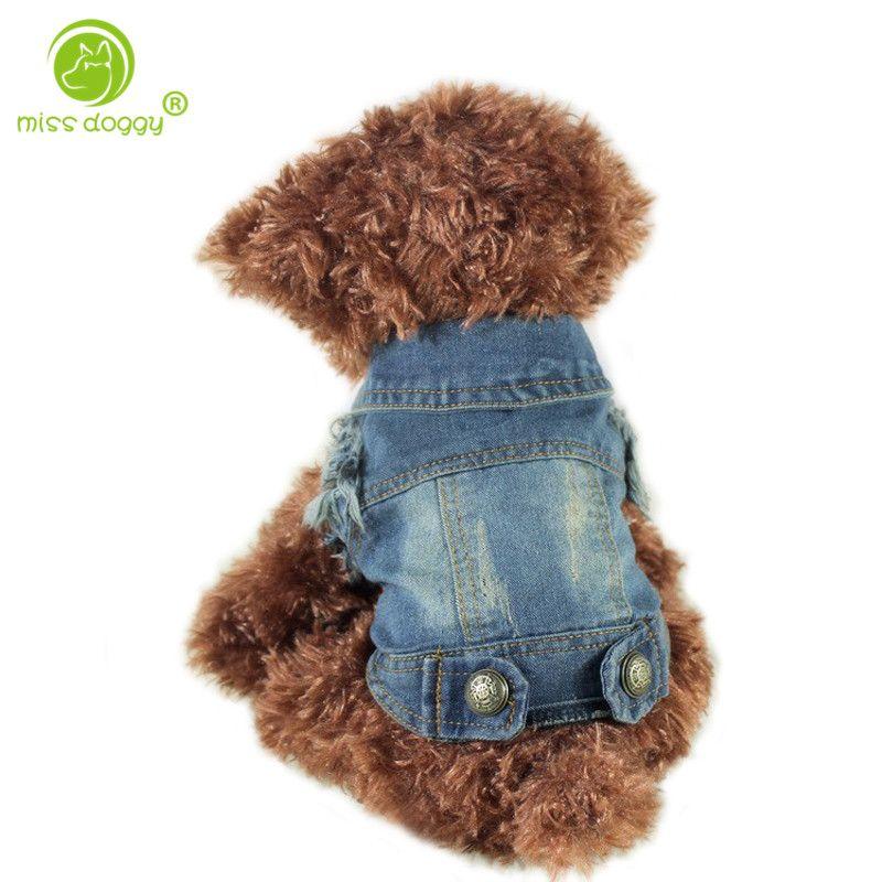 Vente directe Rétro Pet Vêtements Denim Chien Veste Personnalisé Gilet Pour Petit Moyen Gros Chiens Chihuahua XS-XXL Toute La Saison
