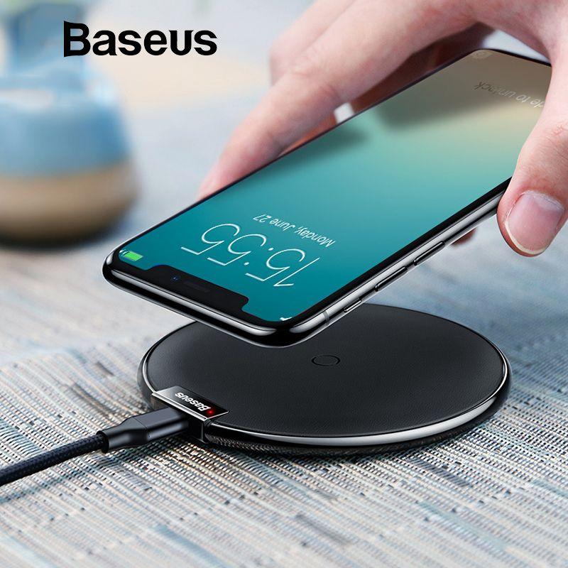 Chargeur sans fil Baseus en cuir pour iPhone X/XS Max XR Samsung S10 S9 Note 9 8 chargeur sans fil rapide QI chargeur sans fil