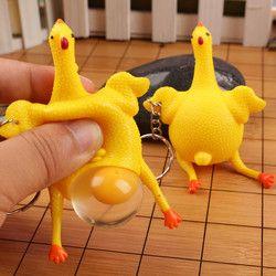 Engraçado Aperto Squishy sob a descompressão de Frango e Ovos de galinhas poedeiras Brinquedos Ornamentos Chaveiro Aliviar O Stress trompete