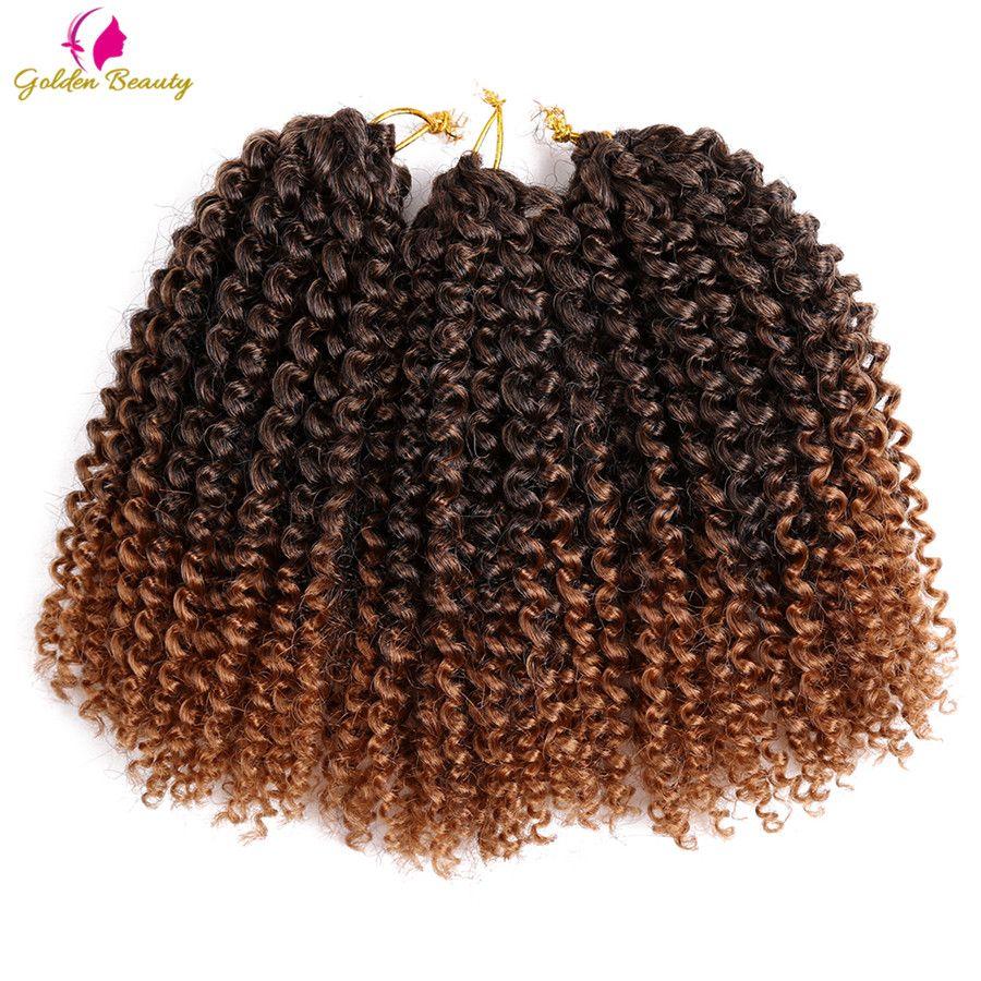 Or Beauté 8-12 pouces Crépus Bouclés Crochet Cheveux Synthétique Tressage Cheveux Extensions Marleybob Crochet Tresses 60 brins/ pack