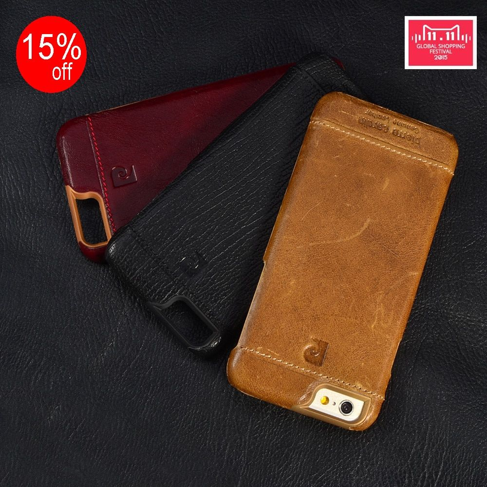 Pierre Cardin Genuine Leather Hard Back Case Cover For iPhone X 8/8 plus 7/7 Plus 5/5s/SE 6/6s 4.7