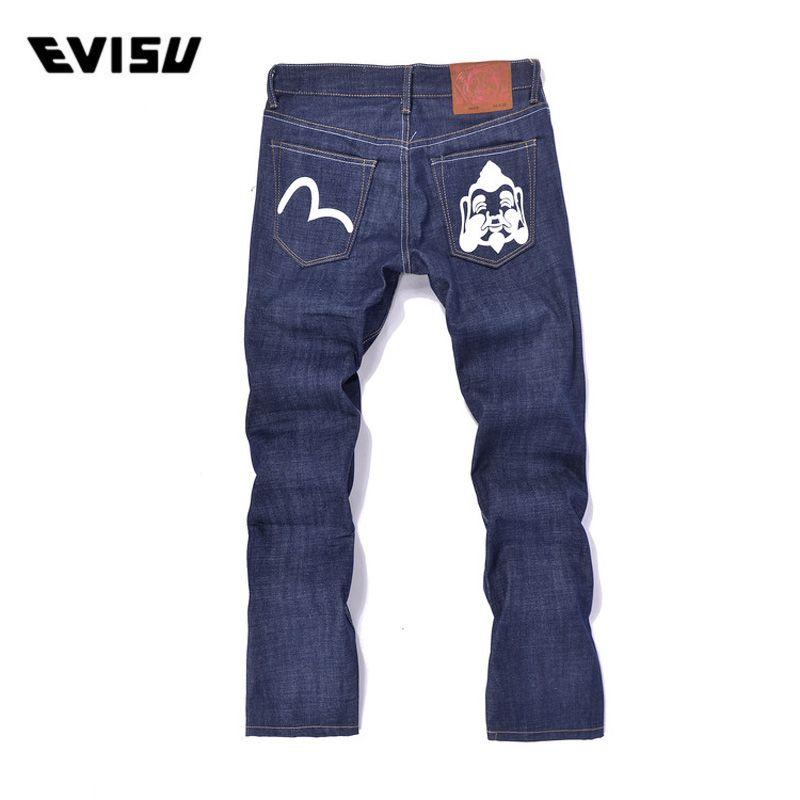 Evisu 2018 Men hipster jeans Casual Fashion Trousers Button Men Pockets pants Straight Long Classic Blue Jeans For Men 6190