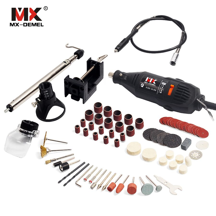 MX-DEMEL Mini Drill Dremel Style Electric <font><b>Rotary</b></font> Tools Engrave Grinder Variable Speed With Shaft Accessories DIY Kits power Tool